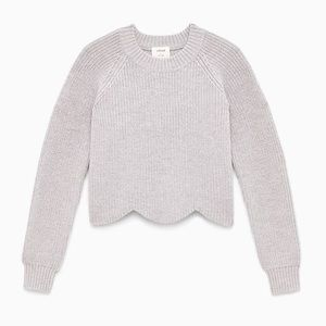 Wilfred Sardou Cropped Wool Sweater in Dove Grey